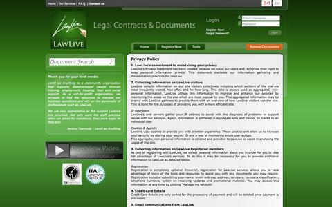 Screenshot of Privacy Page lawlive.com.au - Privacy Policy - LawLive | LawLive - captured Sept. 24, 2014