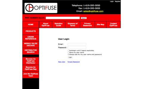 Screenshot of Login Page optifuse.com - Optifuse for fuses, fuseholders, fuseclips, and more - captured Nov. 17, 2015
