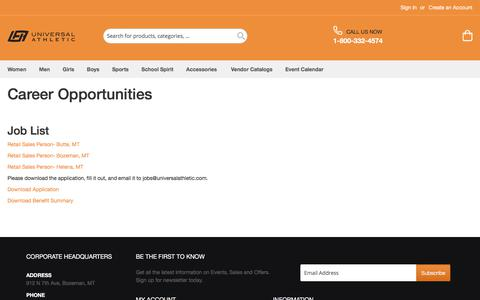 Screenshot of Jobs Page universalathletic.com - Join Team UA  | Universal Athletic - captured Sept. 20, 2018