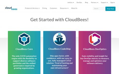 Screenshot of Trial Page cloudbees.com - (1) New Message! - captured June 26, 2018