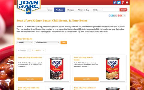 Screenshot of Products Page joanofarc.com - Buy Kidney Beans, Chili Beans & Pinto Beans -Source of Fiber - Joan of Arc - captured Jan. 30, 2018
