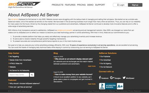 Screenshot of About Page adspeed.com - Ad Serving | Ad Server | Ad Servers | Banner Management – About AdSpeed.com - captured Aug. 25, 2016
