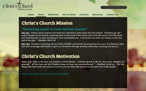 Screenshot of About Page ccomc.org - About «  Christs Church of Marion County - captured Nov. 1, 2014