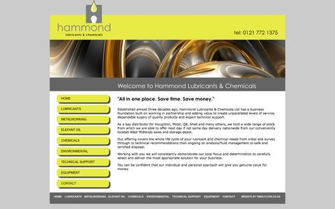 Screenshot of Home Page hammondlubricants.co.uk - Industrial & Food Lubricants | Metalworking Fluids | Sugar Disolving Oil | Spill Kits - captured Oct. 1, 2014