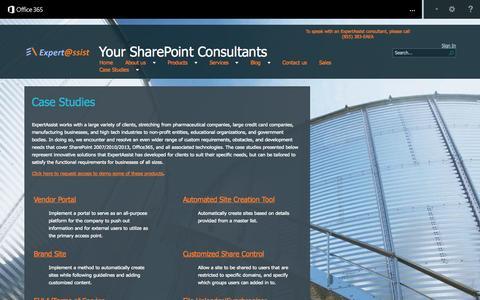 Screenshot of Case Studies Page expertassist.com - Case Studies - captured Oct. 3, 2014