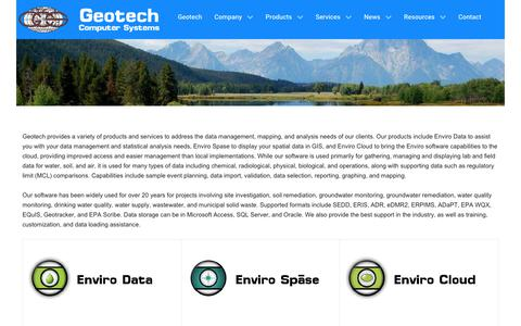 Screenshot of Products Page geotech.com - Product Overview - Enviro Data Software - captured July 29, 2017