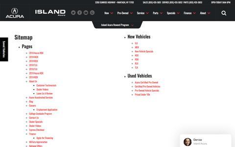 Screenshot of Site Map Page islandacura.com - Sitemap | Island Acura serving Hempstead - captured Sept. 20, 2018