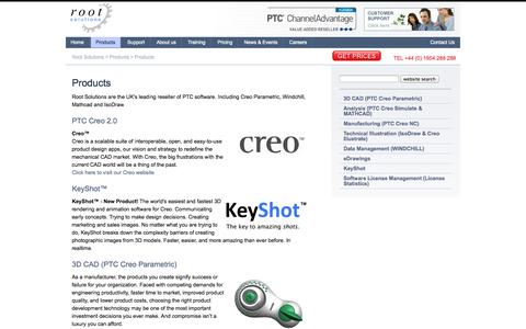 Screenshot of Products Page root-solutions.co.uk - Products | 3D Product Design PTC Creo Software, Windchill, Isodraw - captured Oct. 6, 2014