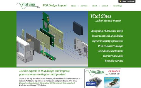 Screenshot of Home Page vitalsines.co.uk - Vital Sines PCB Layout PCB Design Altium Cadstar - captured Dec. 16, 2016