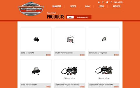 Screenshot of Products Page trainhornsdelivered.com - Products | Train Horns Delivered - captured Nov. 5, 2014