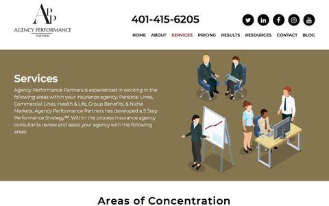 Screenshot of Services Page agencyperformancepartners.com - Insurance Agency Consulting Services | Agency Performance Partners - captured July 29, 2018