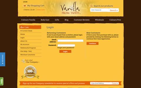 Screenshot of Login Page vanillafromtahiti.com - Login - captured Sept. 30, 2014
