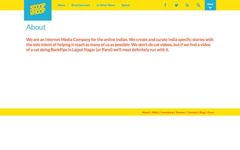 Screenshot of About Page scoopwhoop.com - About ScoopWhoop - captured Sept. 19, 2014