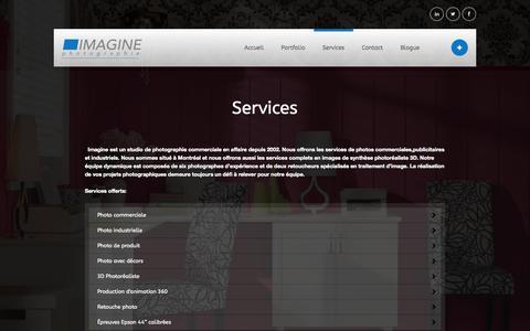 Screenshot of Services Page imaginestudio.ca - Imagine Photographie - Studio de photographie commerciale - captured Oct. 6, 2014