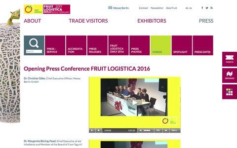 Screenshot of fruitlogistica.com - FRUIT LOGISTICA - Videos - captured April 5, 2016