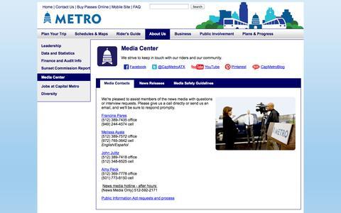 Screenshot of Press Page capmetro.org - Media Contacts - Capital Metro - Austin Public Transit - captured Sept. 19, 2014