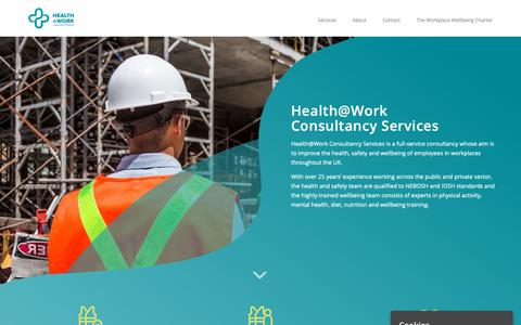 Screenshot of Home Page healthatworkcentre.org.uk - Home - Health @ Work Consultancy Services - captured Nov. 10, 2018