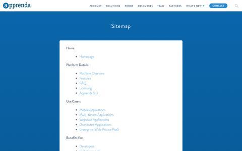 Screenshot of Site Map Page apprenda.com - Sitemap - Apprenda - captured Feb. 4, 2016