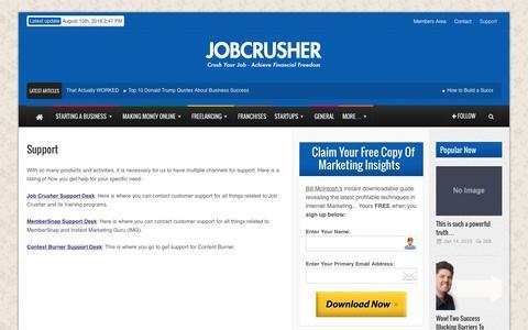 Screenshot of Support Page jobcrusher.com - Job Crusher  Support - Job Crusher - captured Sept. 4, 2016
