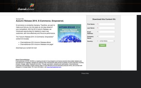 Screenshot of Landing Page channeladvisor.com - Autumn Release 2014. E-Commerce. Empowered. - captured June 23, 2016