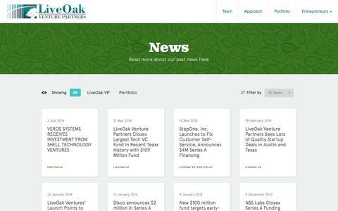 Screenshot of Press Page liveoakvp.com - LiveOak Venture Partners -   News - captured Oct. 3, 2014