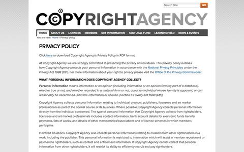 Screenshot of Privacy Page copyright.com.au - Privacy policy — Copyright Agency - captured Sept. 25, 2014