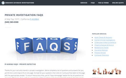 Screenshot of FAQ Page zatarainpi.com - Facts about Private Investigators and Detectives (949) 383-0300 - captured Oct. 4, 2018