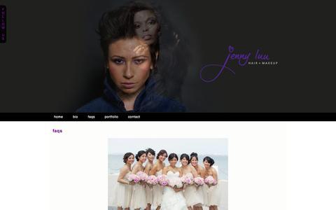 Screenshot of FAQ Page jcluu.com - faqs » Jenny Luu Hair + Makeup - captured Oct. 6, 2014