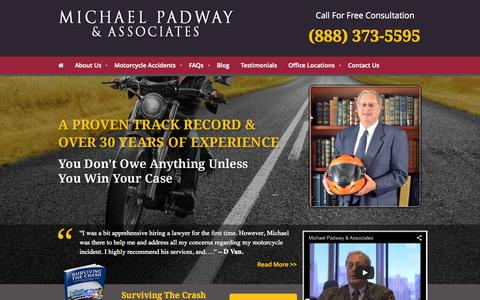 Screenshot of Home Page michaelpadway.com - Oakland & San Francisco Motorcycle Accident Attorney Michael Padway & Associates - captured Sept. 6, 2015
