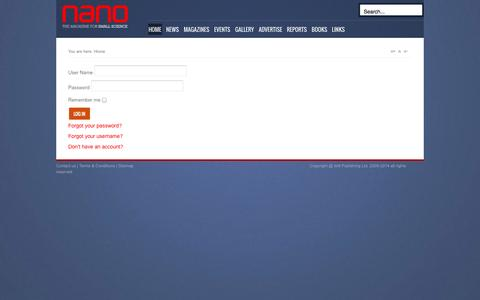Screenshot of Login Page nanomagazine.co.uk - Nanomagazine - captured Sept. 30, 2014