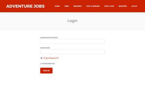 Screenshot of Login Page adventurejobs.co.nz - Login | Adventure Jobs - captured Oct. 7, 2017