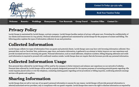 Screenshot of Privacy Page lavishescape.com - Privacy Policy | Lavish Escape Travel Agency | Omaha Nebraska - captured July 16, 2018