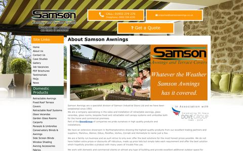 Screenshot of About Page samsonawnings.co.uk - About Us – Samson Awnings - captured July 23, 2016