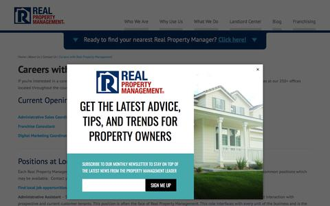 Screenshot of Jobs Page realpropertymgt.com - Careers with Real Property Management | Real Property Management National Headquarters - captured July 9, 2018
