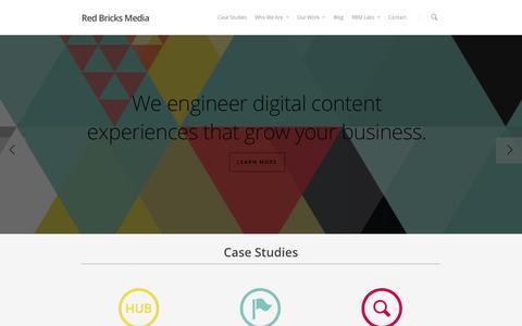 Screenshot of Home Page redbricksmedia.com - Content Marketing Services | Agency | RBM - captured Oct. 9, 2014