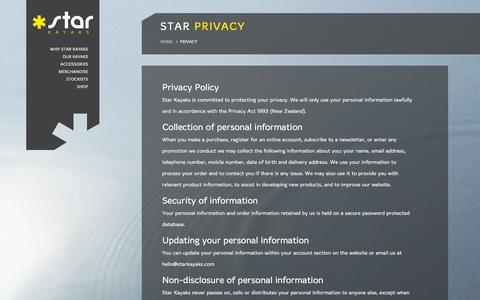 Screenshot of Privacy Page starkayaks.com - Privacy policy   Star Kayaks - captured Jan. 12, 2016