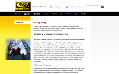 Screenshot of Privacy Page ringersgloves.com - Privacy Policy - captured Oct. 26, 2014