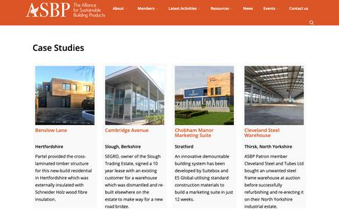 Screenshot of Case Studies Page asbp.org.uk - Case Studies - The Alliance for Sustainable Building Products - captured Oct. 3, 2018