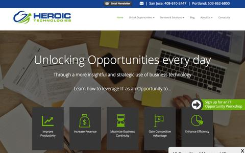 Screenshot of Home Page heroictec.com - Computer Support, Network Services, IT Consulting - San Jose & Portland Areas   Heroic Technologies - captured Sept. 19, 2015