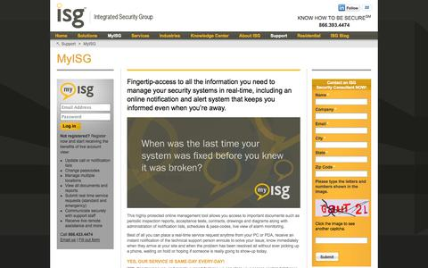 Screenshot of Support Page isgsecurity.com - ISG My Integrated Security System Management & Access - captured Oct. 6, 2014