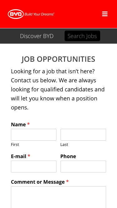 Screenshot of Jobs Page  byd.com - Job Opportunities - BYD USA