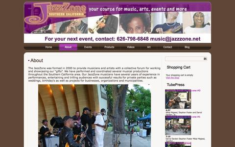 Screenshot of About Page jazzzonenetwork.net - About   For your next event, contact: 626-798-6848  music@jazzzone.net - captured Oct. 6, 2014