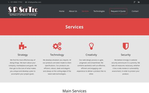 Screenshot of Services Page spsoftec.com - S P SofTec: Our Services - captured Sept. 30, 2014