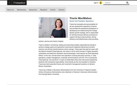 Screenshot of Team Page collegeboard.org - Tracie MacMahon | The College Board - captured Jan. 4, 2019