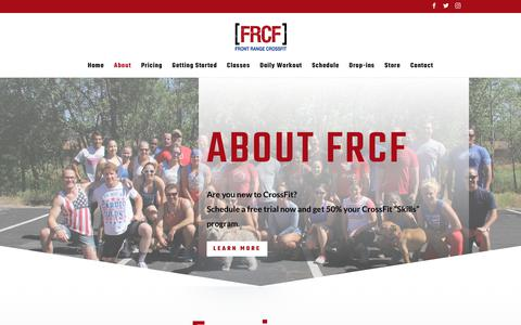 Screenshot of About Page frontrangecrossfit.com - About | Front Range CrossFit - captured Jan. 26, 2020