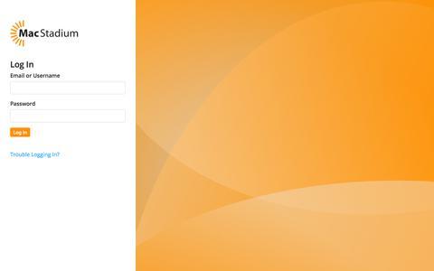 Screenshot of Login Page macstadium.com - MacStadium Customer Portal - captured July 27, 2018