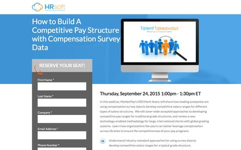 Screenshot of Landing Page hrsoft.com - Building Competitive Pay Structure with Comp Survey Data - captured Sept. 6, 2016