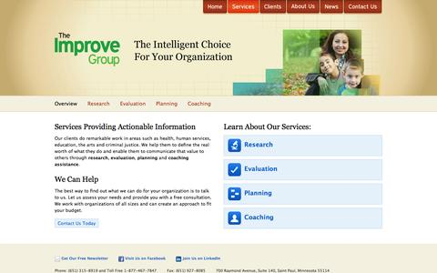 Screenshot of Services Page theimprovegroup.com - The Improve Group | Research, Evaluation, Planning, Coaching - captured Oct. 7, 2014