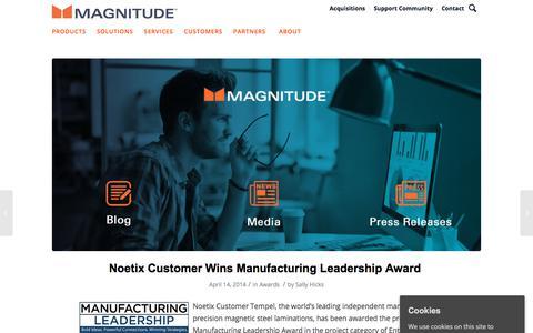 Screenshot of Press Page magnitude.com - Austin newcomer Magnitude Software raises $100 million - captured Oct. 3, 2019