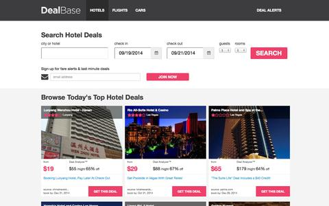 Screenshot of Home Page dealbase.com - Hotel Deals - Find Hotel Discounts and Cheap Travel Deals | Dealbase - captured Sept. 15, 2014